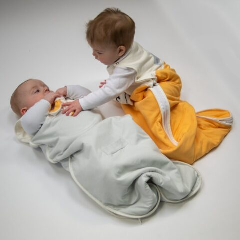 baby and toddler in the same organic baby sleeping bag