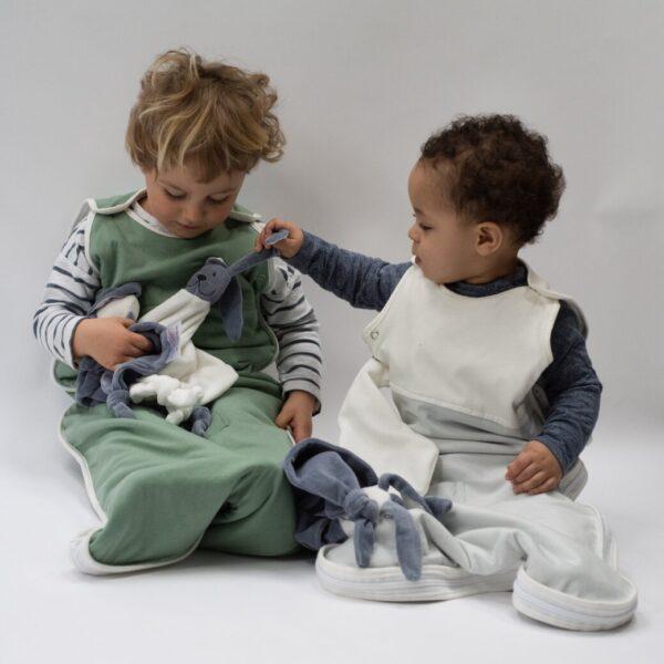 toddlers in organic baby sleeping bag